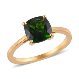 Russian Diopside Solitaire Ring in 14K Gold Overlay Sterling Silver 0.40 ct  2.000  Ct.