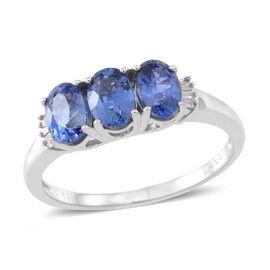 ILIANA 2.50 Ct AAAA Ceylon Sapphire and Diamond Trilogy Ring in 18K White Gold