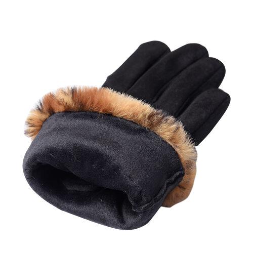 Faux Fur Leopard Print Trim Gloves (Size 9x23cm) - Black and Brown