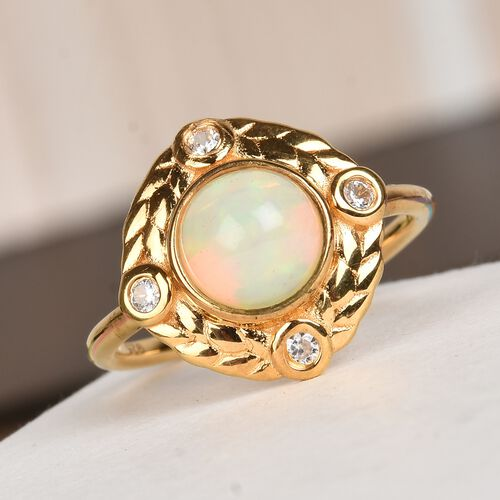 AA Ethiopian Welo Opal and Natural Cambodian Zircon Ring in 14K Gold Overlay Sterling Silver 1.00 Ct.