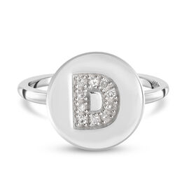White Diamond Initial-D Ring in Platinum Overlay Sterling Silver