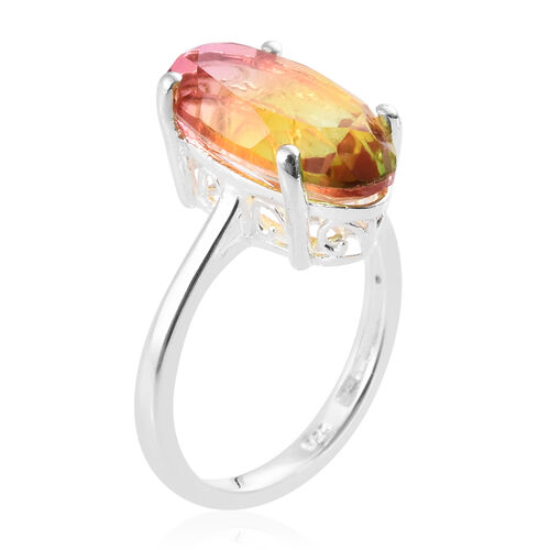 Rainbow Genesis Quartz (Ovl 16x8 mm) Solitaire Ring in Sterling Silver 5.250 Ct.