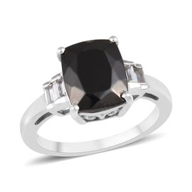 1.90 Ct Elite Shungite and Cambodian Zircon Solitaire Design Ring in Platinum Plated Silver