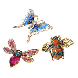 New Arrival - Set of 3 Austrian Crystal Brooches - 1 Butterfly, 1 Beetle & 1 Dragonfly