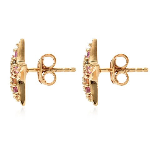 WEBEX- Multi Colour Gemstone (Rnd) Star Stud Earrings (with Push Back) in 14K Gold Overlay Sterling Silver 0.750 Ct.