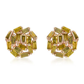 9K Yellow Gold Yellow Diamond Cluster Earrings (with Push Back) 0.50 Ct.
