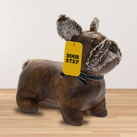 Lesser & Pavey - Faux Leather Frenchie Doorstop in Brown (Size 22x30x19.5 Cm)
