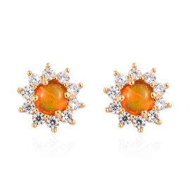 Orange Ethiopian Opal (Rnd), Natural Cambodian Zircon Stud Earrings (with Push Back) in 14K Gold Ove