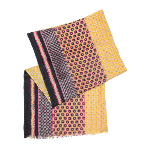 One Time Deal-100% Merino Wool Yellow, Pink and Multi Colour Dots Pattern Scarf with Fringes (Size 180X70 Cm)
