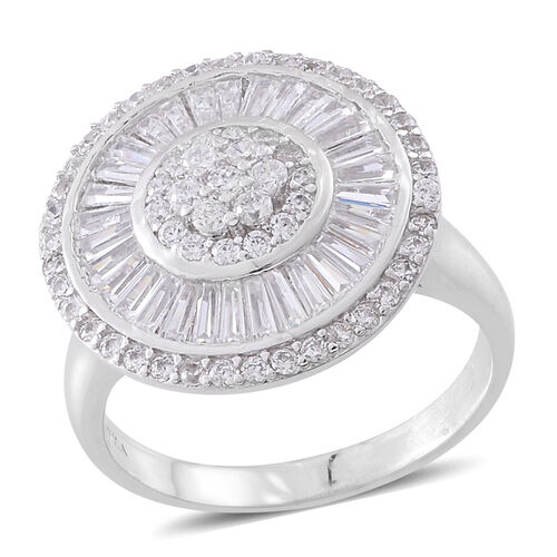 Designer Inspired - ELANZA Simulated White Diamond (Rnd) Ring in Rhodium Plated Sterling Silver, Sil