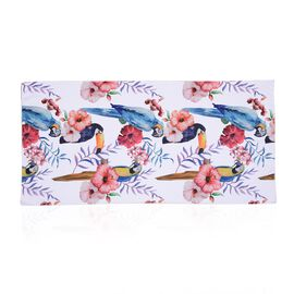 Beach Towel with Bird Pattern (Size 71x144.7 Cm) - White and Multi Colour