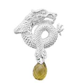 Royal Bali Collection - Hebei Peridot DRagon Pendnat in Sterling Silver 5.60 Ct.
