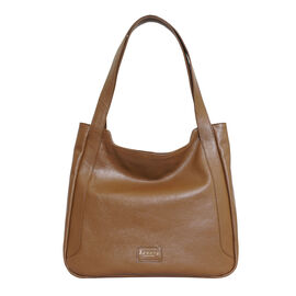Assots London Harriet Genuine Leather Slouchy Hobo Bag (Size 35x29x7cm) - Tan