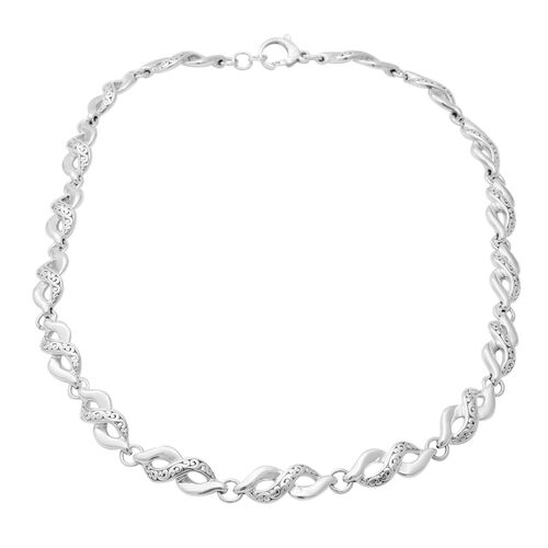 Twisted Infinity Necklace with Lobster Clasp in Sterling Silver 41.53 Grams 23 Inch