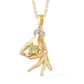AA Hebei Peridot Mudra Hand Pendant With Chain (Size 20) in Yellow Gold and Platinum Overlay Sterlin