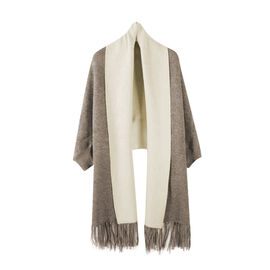 Kris Ana Wrap with Tassels (Size One, 8-18) - Taupe and Pink