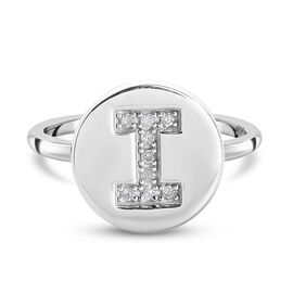 White Diamond Initial-I Ring in Platinum Overlay Sterling Silver
