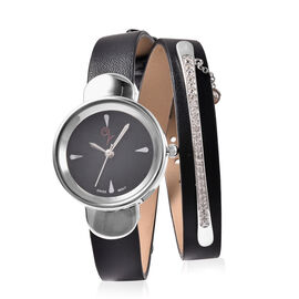 LUCYQ Swiss Movement Black Dial 3ATM Water Resistant Watch with 3 Row Black Leather Strap and Natura