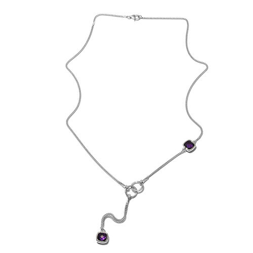 Sunday Child-  Amethyst and Natural Cambodian Zircon Necklace (Size 26) in Platinum Overlay Sterling