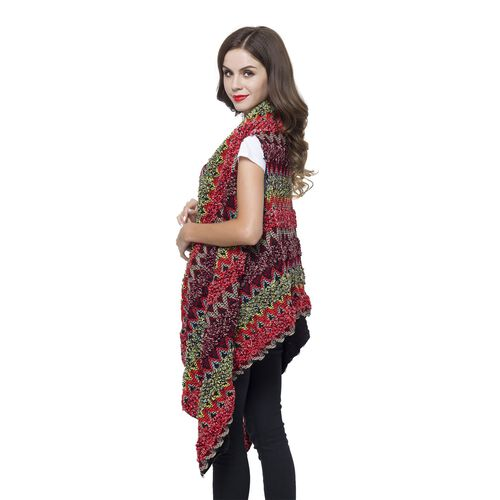 Italian Designer Inspired Red, Green and Multi Colour Zigzag Pattern Longline Gilet (Free Size)