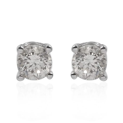 New York Close Out Deal - 14K White Gold Diamond (I1-I2/G-H) Stud Earrings (with Screw Back) 0.50 Ct.