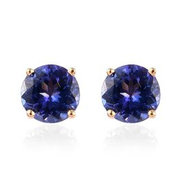 ILIANA 18K Yellow Gold AAA Tanzanite Stud Earrings (with Screw Back) 1.75 Ct.