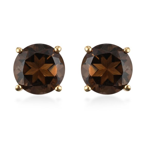Brazilian Smoky Quartz Stud Earrings (with Push Back) 14K Gold Overlay Sterling Silver 5.20 Ct