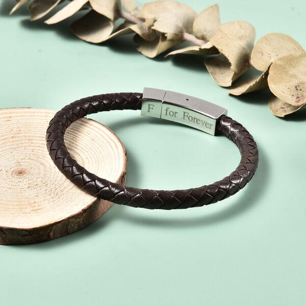 """Personalised Engravable Brown Leather Bracelet 8"""", Steel"""