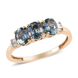 1.35 Ct AA Yogo Montana Peacock Sapphire and Diamond Trilogy Ring in 9K Gold