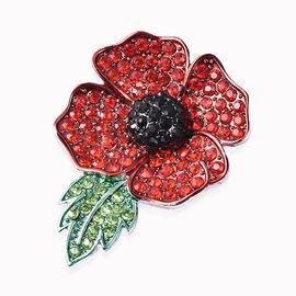 TJC Poppy Design Red and Black Enamelled Poppy Flower Magnetic Brooch