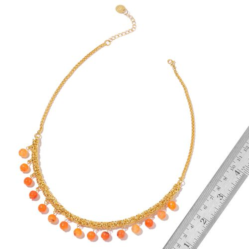 Agate Beads Byzantine Necklace (Size 18 with 2 inch Extender) in Yellow Gold Tone 35.000 Ct.