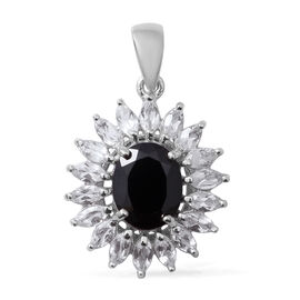 Boi Ploi Black Spinel (Ovl 3.65 Ct), White Topaz Sunflower Pendant in Sterling Silver 5.450 Ct.