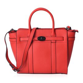 100% Genuine Leather Litchi Pattern Tote Bag with Detachable Shoulder Strap (Size 38x28.5x12.5x26 Cm