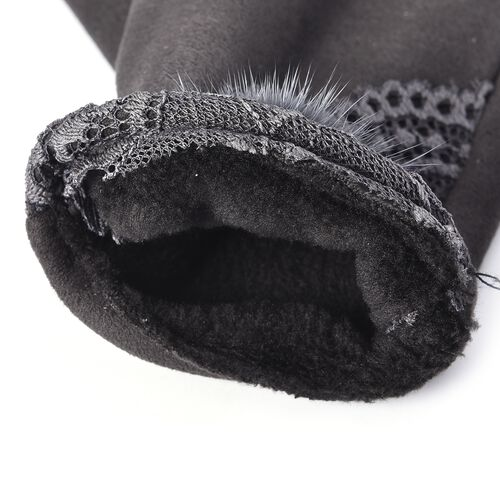 Solid Colour Women Winter Gloves with Lace and Faux Fur Ball on the Wrist (Size 8.9x22.9 Cm) - Dark Grey