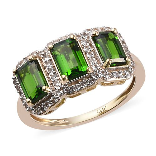 2.25 Ct Russian Diopside and Zircon Triple Halo Ring in 9K Gold