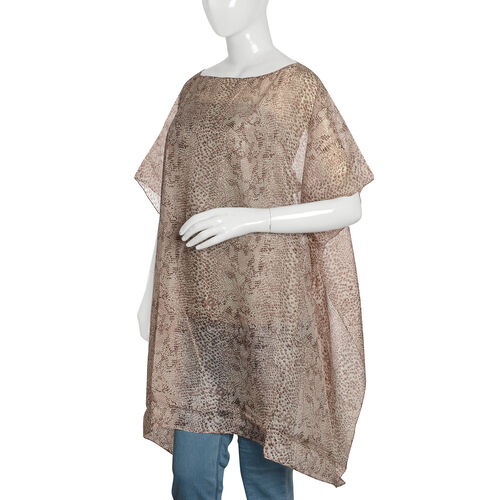 100% Mulberry Silk Beige, Chocolate and Off White Colour Handscreen Snake Skin Printed Kaftan (Free Size)
