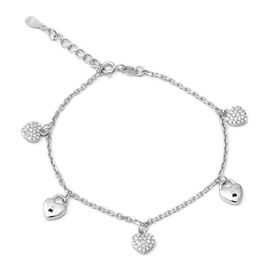 ELANZA Simulated Diamond (Rnd) Adjustable Bracelet (Size 7) in Rhodium Overlay Sterling Silver