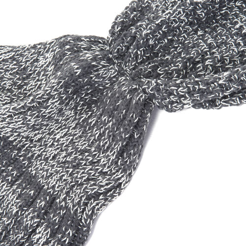 Grey Colour Mermaid Tail Blanket (Size 148x46 Cm)