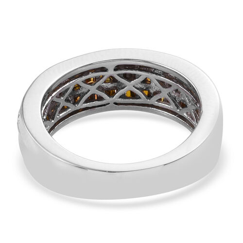 Red Diamond (Bgt) Band Ring in Platinum Overlay Sterling Silver 0.750 Ct.
