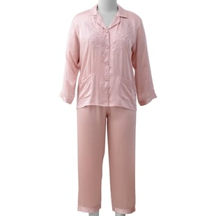 100% Mulberry Silk Pyjama Long Sleeves with Embroidery in Powder Pink Colour