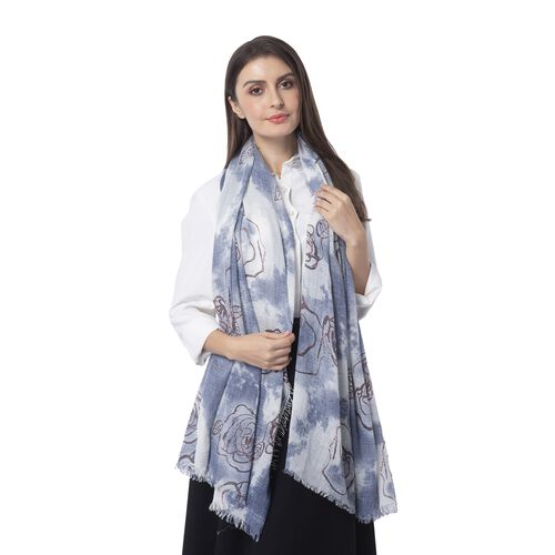 Dark Blue, White and Multi Colour Art Rose Flower Pattern Scarf (Size 180x90 Cm)