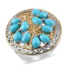 Tucson Special - AA Arizona Sleeping Beauty Turquoise (Pear) Tree of life Ring (Size Q) in Platinum and Yello