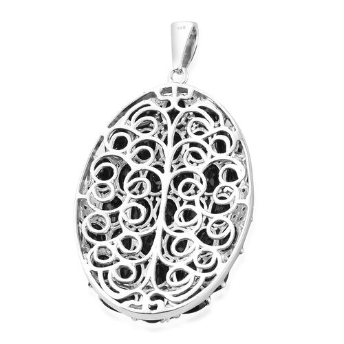 Boi Ploi Black Spinel (Ovl) Cluster Pendant in Platinum Overlay Sterling Silver 33.000 Ct, Silver wt 11.09 Gms.