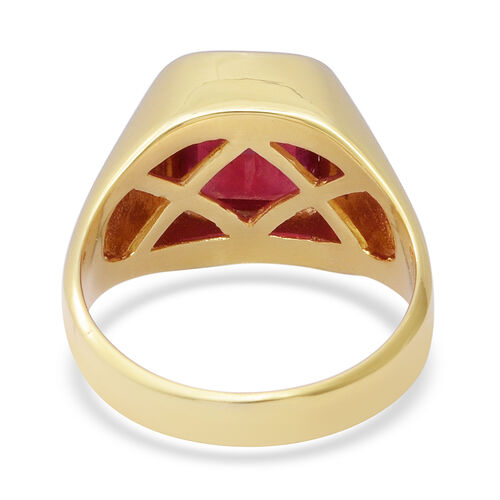 African Ruby Solitaire Ring in Yellow Gold Overlay Sterling Silver 5.25 Ct, Silver wt 6.15 Gms