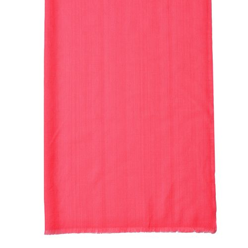 Super Soft-100% Wool Watermelon Red Colour Scarf with Fringes (Size 190X70 Cm)