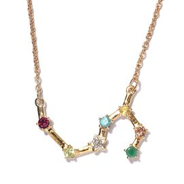 Diamond and Multi Gemstones Necklace (Size - 20 ) in 14K Gold Overlay Sterling Silver