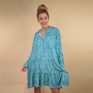 TAMSY 100% Viscosa Digital Leopard Print Button Detail Smock Dress One Size, (Fits 8-20) - Blue