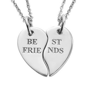 Personalised Engravable Split Heart 2 Chain Neclace in Silver, Size 18 Inch