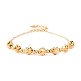 Designer Inspired- Yellow Gold Overlay Sterling Silver Beads Bracelet (Size 7 with 1 inch Extender)