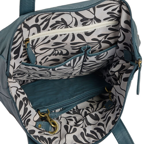 Set of Two 100% Genuine Leather Bird Design Teal Colour Handbag (Size 35X28X10 Cm) with RFID Pouch (Size 20X12 Cm)